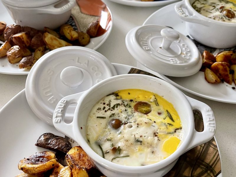 Baked Eggs with Goat Cheese and Herbs
